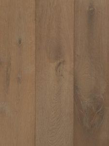Deze grijze houten vloer is geschuurd en gerookt