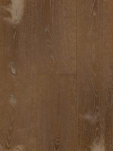 Deze donkere houten vloer heeft een ultraviolette topcoating.