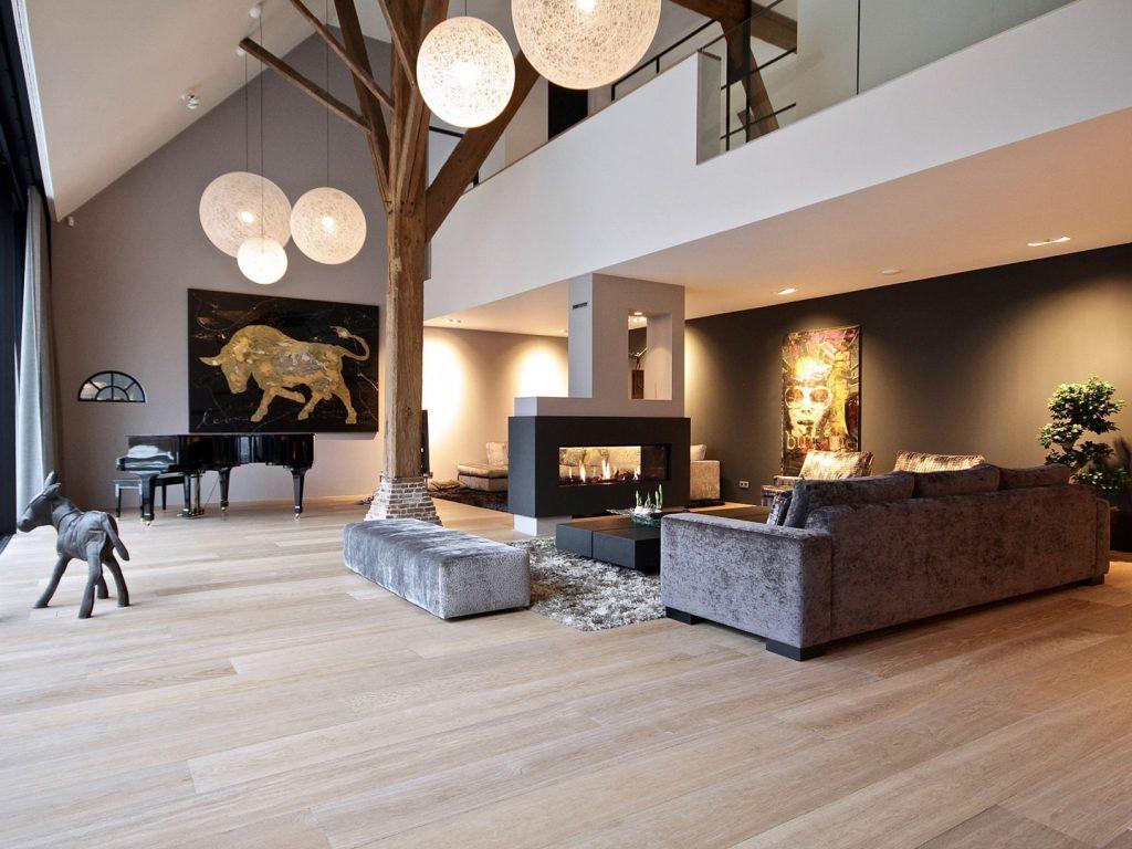 Brede eiken houten vloer