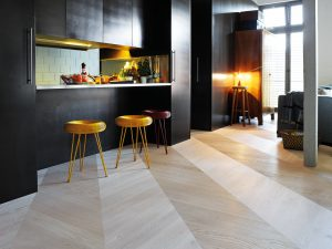 Hongaarse punt vloer in keuken