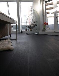Zwarte eiken duoplank vloer