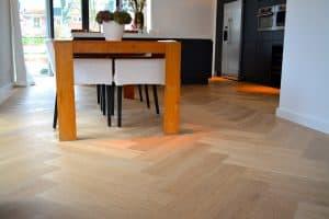 Visgraat vloer Amstelveen op vloerverwarming